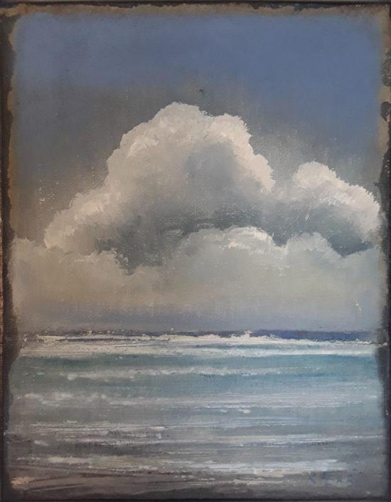 Galerie Felli - R.FERRI - OCEAN - 24 x 19 cm - 2017 - Acrylique sur papier marouflé sur toile