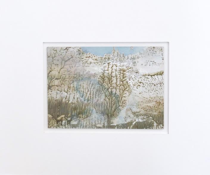 Arbre rose - Encadrement 17 x 21,5 cm - Huile et tempera sur papier