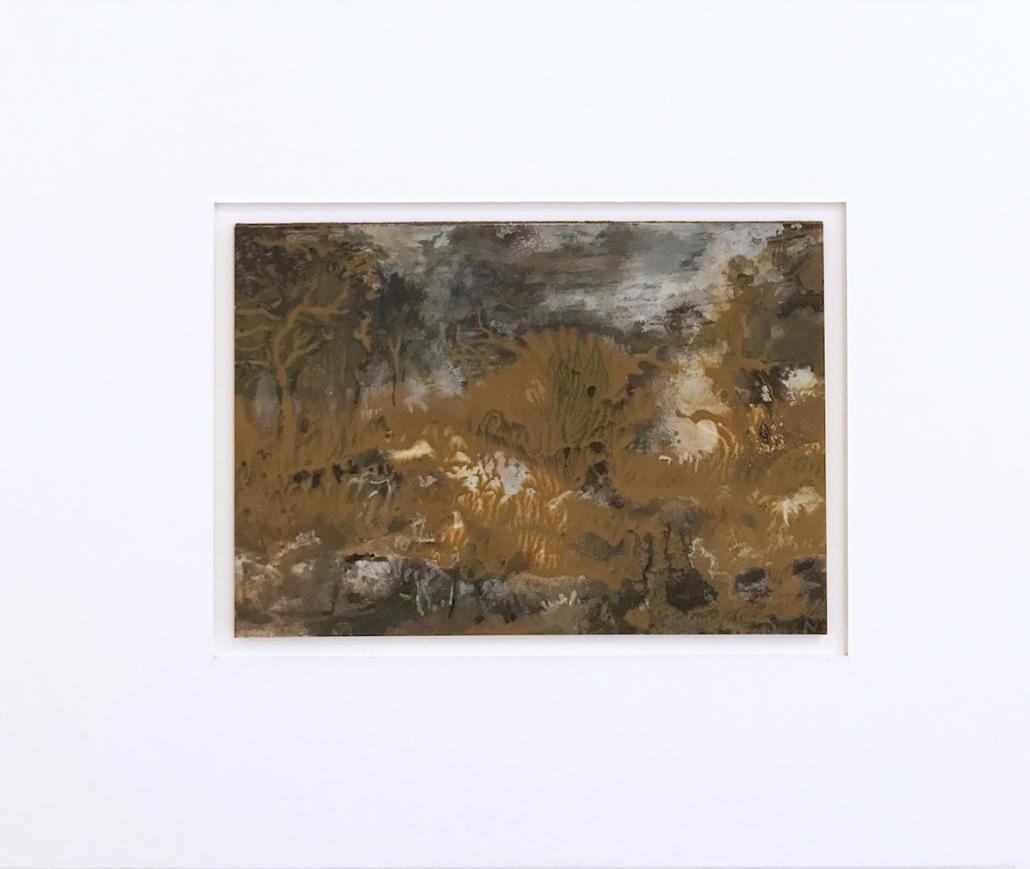 Arbres Bronze- Encadrement 17 x 21,5 cm - Huile et tempera sur papier
