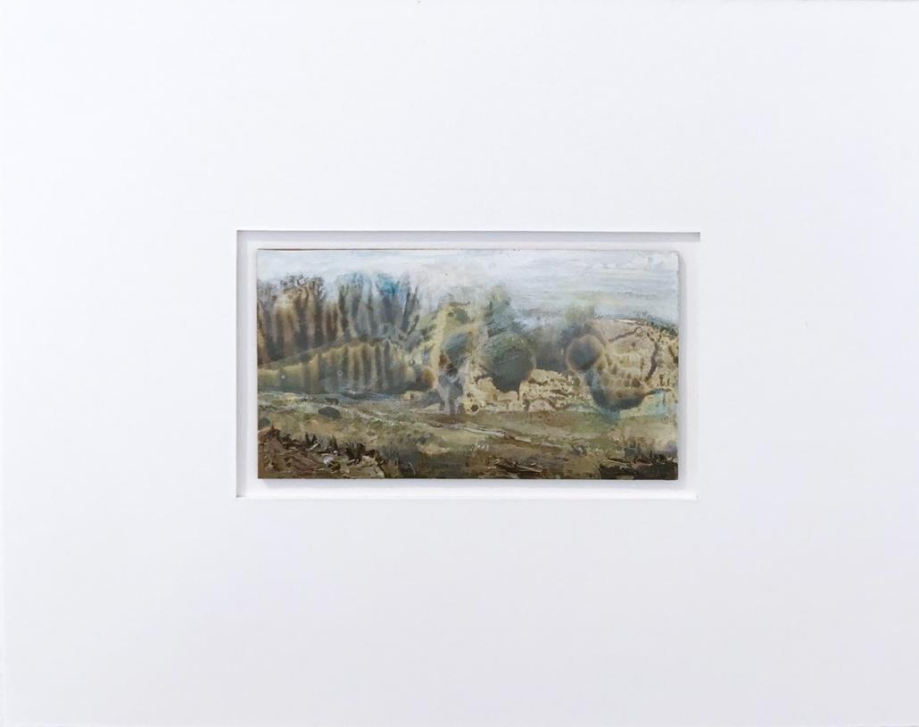 Arbres ronds - Encadrement 17 x 21,5 cm - Huile et tempera sur papier
