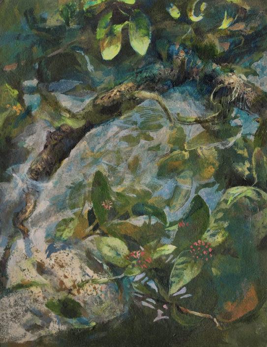 Branche dans l'eau - Huile sur carton - 27 x 21 cm