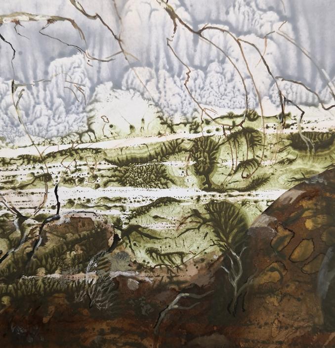 Branches fourchues - tempera sur papier, 12,4 x 11,7 cm, 2019