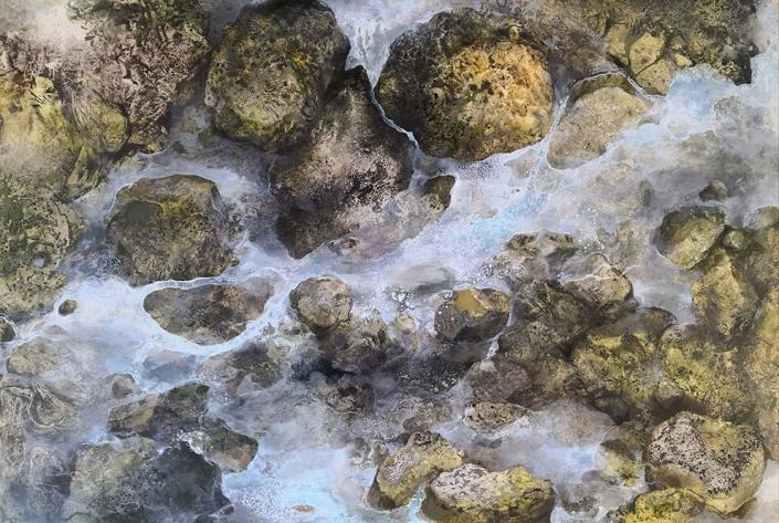 Erosion - Huile et tempera sur toile - 89 x 130 cm