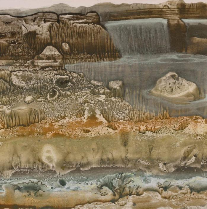 La chute d'eau - 27 x 27 - Huile et tempera sur carton