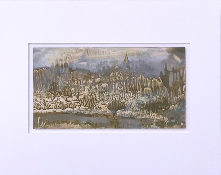 Clocher - Encadrement 17 x 21,5 cm - Huile et tempera sur papier