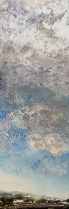 Le monde vu par... les cieux - 150 x 50 cm - Huile et tempera sur toile