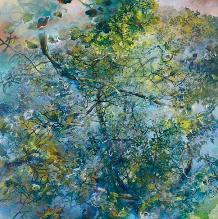 Le monde vu par...une feuille - Huile sur toile - 130 x 130