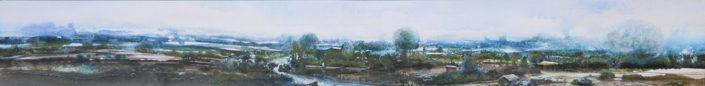 Le monde vue par... la rosée du matin - 20 x 160 cm - huile et tempera sur toile