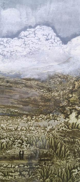 Le rendez-vous - tempera et huile sur papier - 11,5 x 5,2 cm - 2019