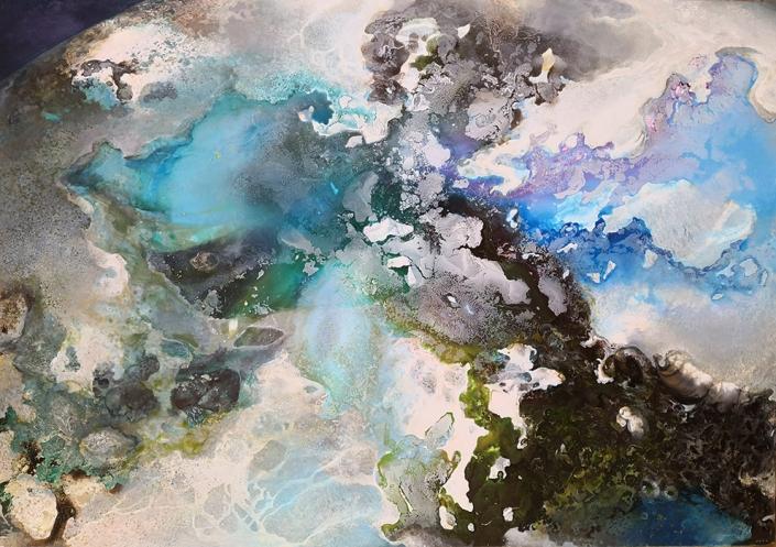 Terre, tempera et huile sur toile, 162 x 114 cm, 2019
