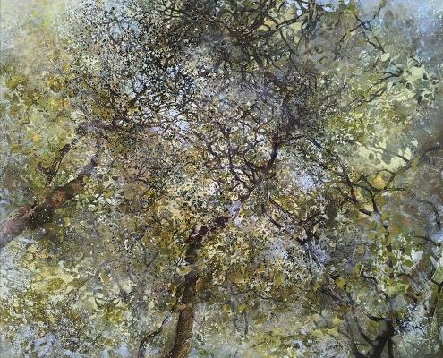 Végétal - Tempera et Huile sur toile - 130 x 130 cm