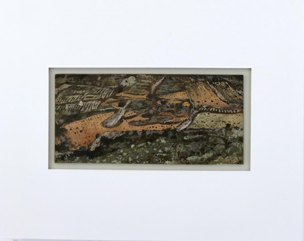 Vignes - Encadrement 17 x 21,5 cm - Huile et tempera sur papier