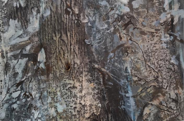 Arbres, tempera et huile sur papier, 7,4 x 11,2 cm, 2019