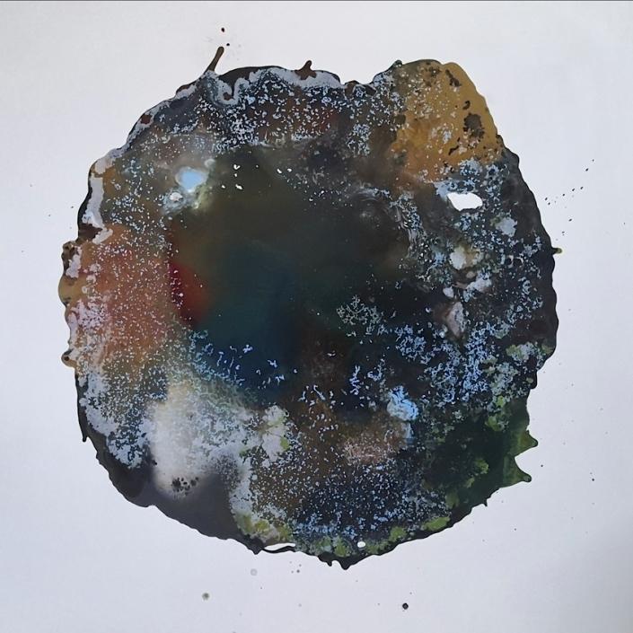 Attraction, tempera et huile sur toile, 130 x 130 cm, 2019