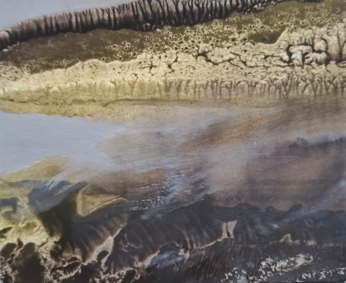 Au bord de l'eau - Huile et tempera sur carton - 8,4 x 10,4 cm