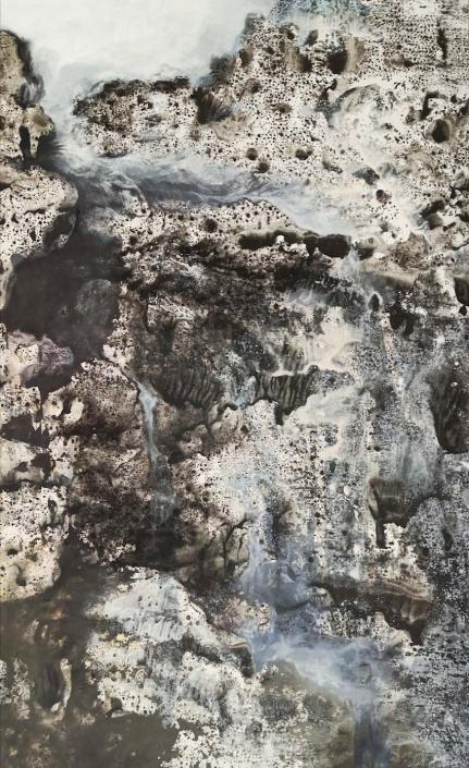 La cascade- Huile et tempera sur carton - 54,2 x 33 cm