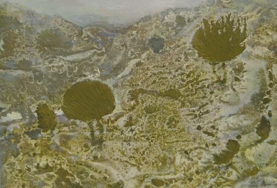 Italie, tempera et huile sur papier, 10,3 x 15 cm, cadre 17 x 22 cm, 2019