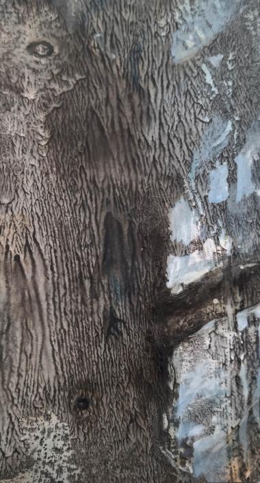 L'arbre - Huile et tempera sur carton - 18,7 x 10,4 cm