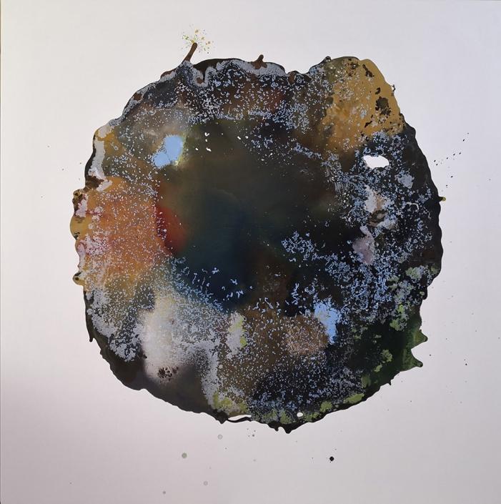 le retour à la terre, tempera et huile sur toile, 130 x 130 cm, 2019