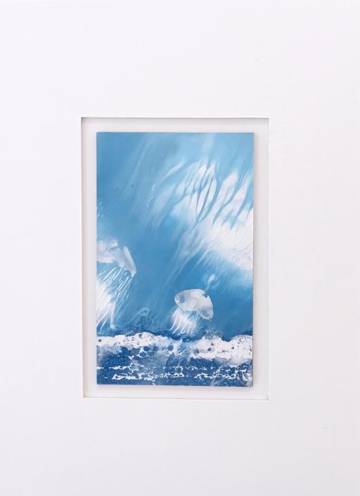 Méduses - Encadrement 18 x 12 cm - Huile et tempera sur papier