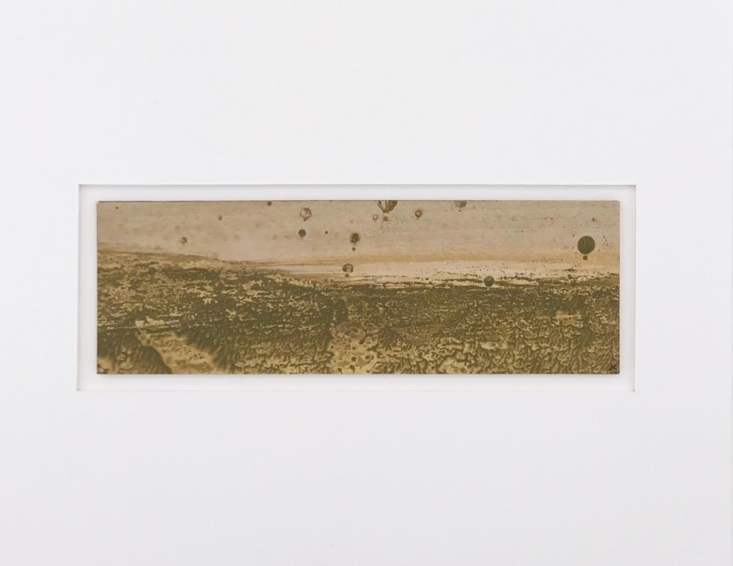 Montgolfiade - Encadrement 17 x 21,5 cm - Huile et tempera sur papier