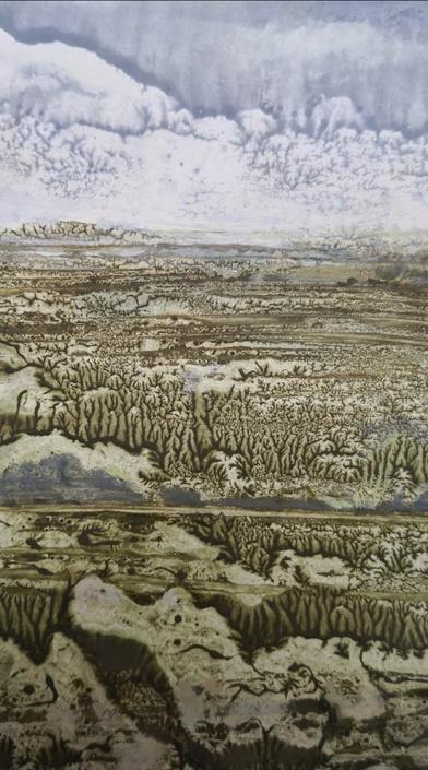 paysage, tempera et huile sur papier, 15,2 x 8,4 cm, 2019
