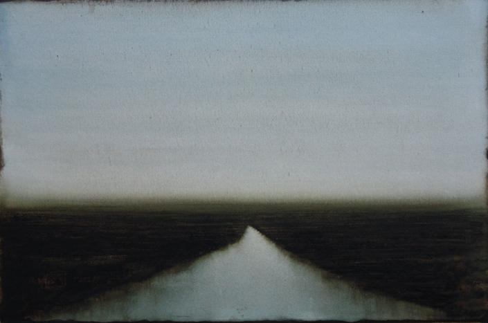 Cherel - Petit estuaire- 2019 - 40 x 60 cm - Encre et brou de noix sur papier marouflé sur toile