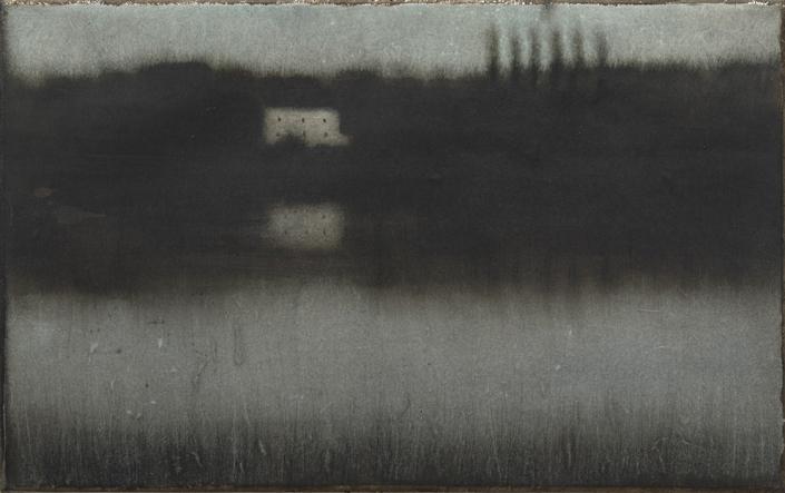 Cherel - Maison et cyprès - 2019 - 40 x 55 cm - Encre et brou de noix sur papier marouflé sur toile