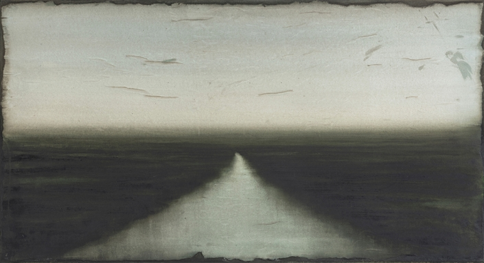 Cherel - Estuaire - 2019 - 60 x 110 cm - Encre et brou de noix sur papier marouflé sur toile