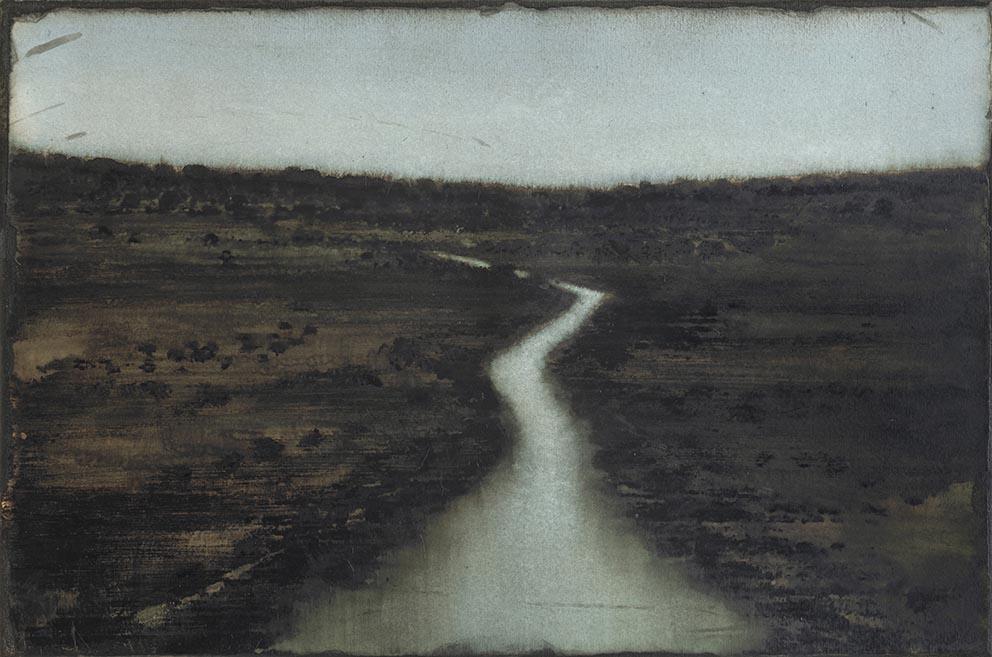 Cherel - Petit fleuve - 2019 - 40 x 60 cm - Encre et brou de noix sur papier marouflé sur toile