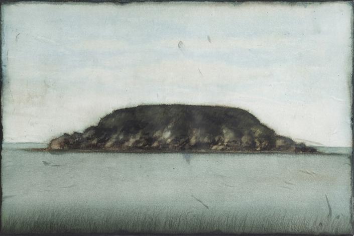 Cherel - Lîle 1 - 40 x 60 cm - Encre et brou de noix sur papier marouflé sur toile