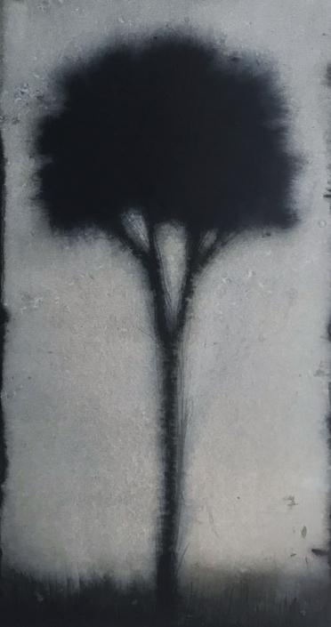 Petit arbre 3 - 38 x 20 cm - Encre et brou de noix sur papier marouflé sur toile
