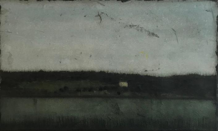 Rivière et maison - 29 x 46 cm encre et brou de noix sur papier