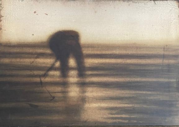 Cherel - Marée basse - 35 x 50 cm - Encre et brou de noix sur papier marouflé sur toile