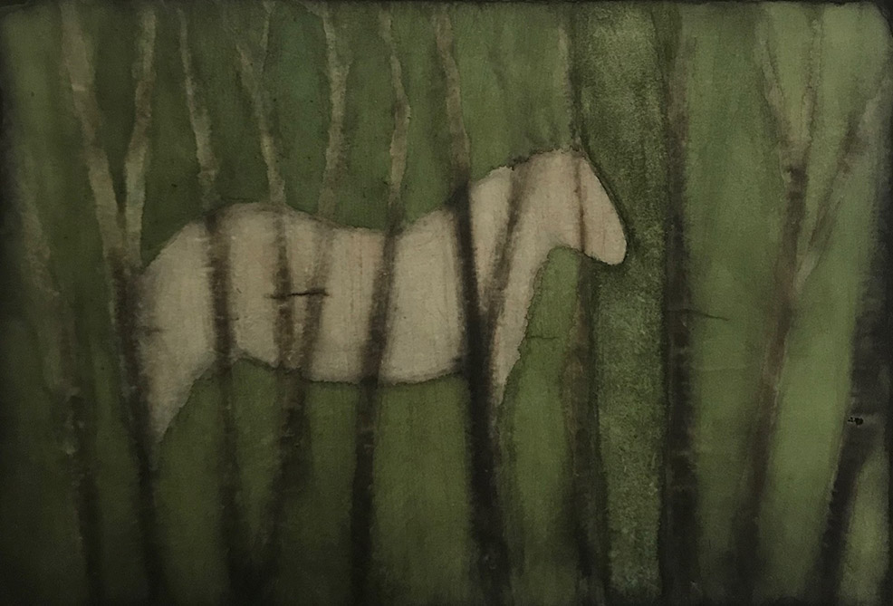 Cherel - Le cheval - 2019 - 40 x 55 cm - Encre et brou de noix sur papier marouflé sur toile