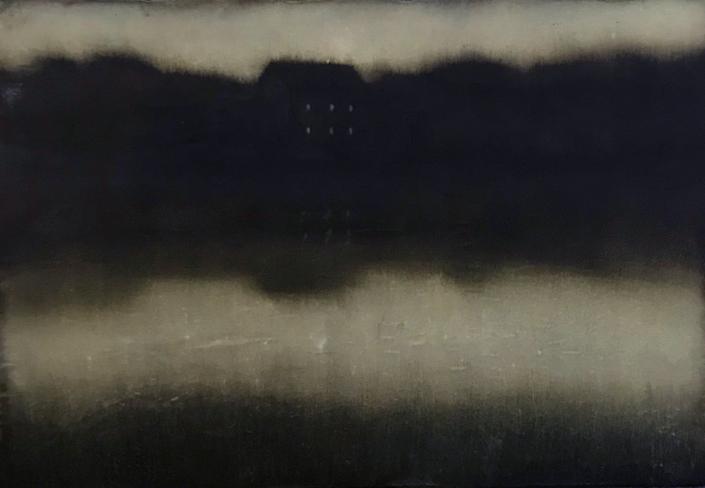 Cherel - Maison 2 - 2019 - 38 x 55 cm - Encre et brou de noix sur papier marouflé sur toile
