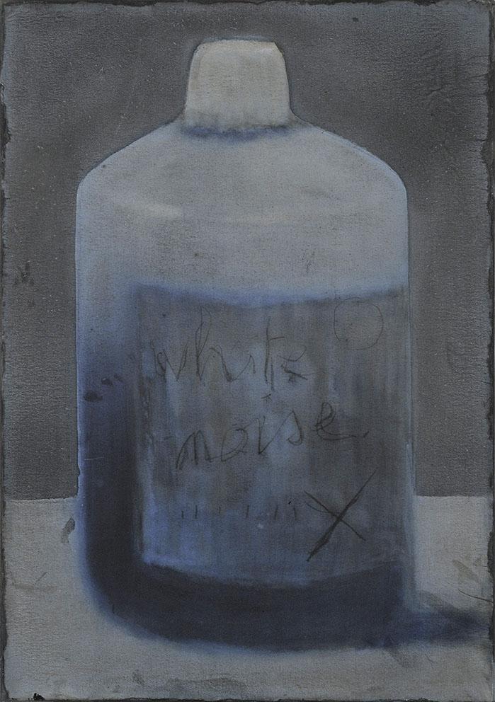 Cherel - White noise - 50 x 35 cm - Encre et brou de noix sur papier marouflé sur toile