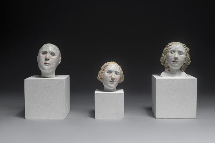 Agnès Baillon - Mini tetes 1 2 3 - H 7 cm - Papier mâché