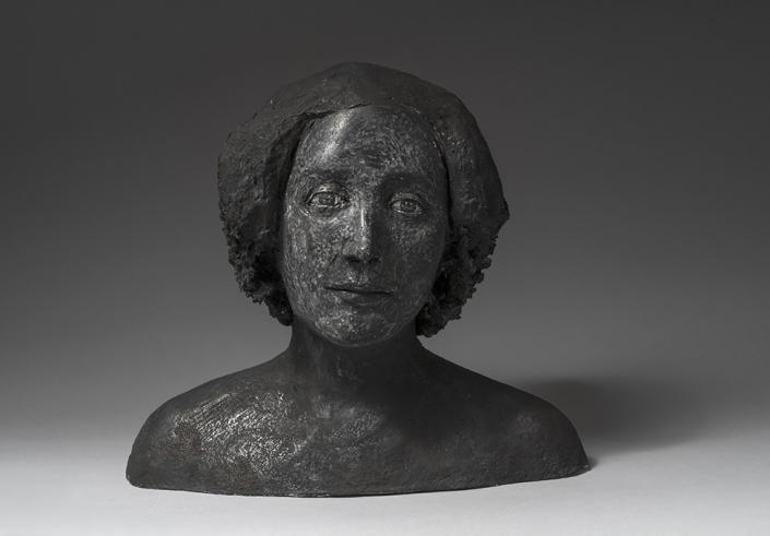 Agnès Baillon - Portrait en noir - H 33 cm - Papier mâché