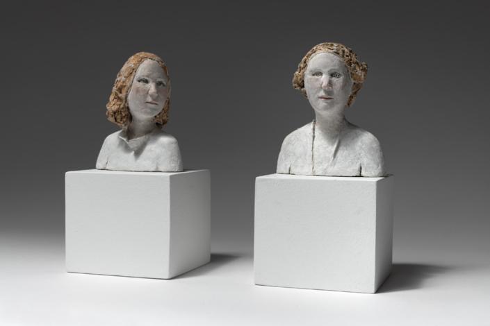 Buste d ange 1 et 2 - Papier mâché - H 13 cm