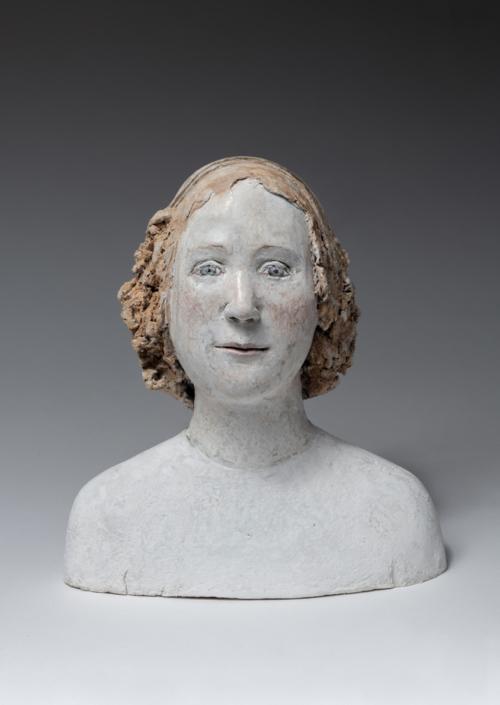 Buste de fille avec serre tête - Papier mâché - H 24 cm