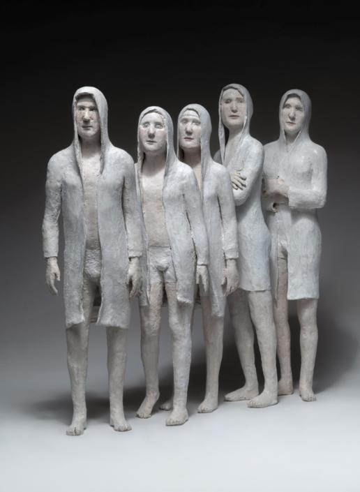 Equipe de nageurs - Papier mâché - H 50 cm