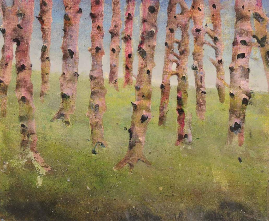 Bouleaux au soleil - Acrylique sur bois - 45 x 43 cm
