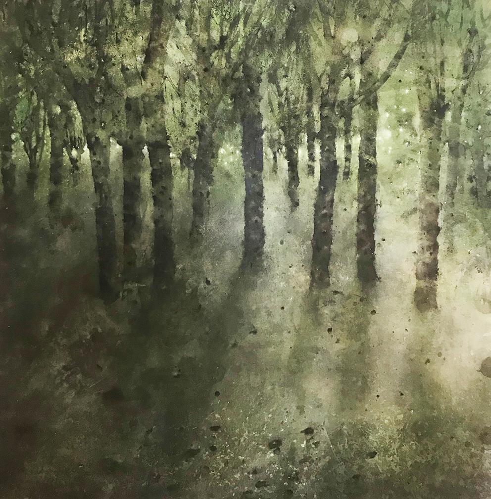 Katarina Axelsson - Grand sous bois - 150 x 150 cm - Acrylique sur bois