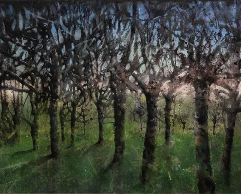 Katarina Axelsson - Le peuple de l'aube 2 - 92 x 125 cm - Acrylique sur bois