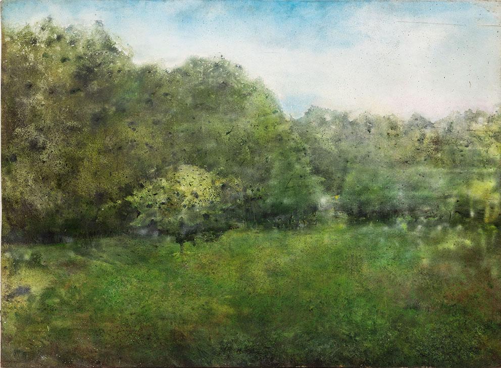 Katarina Axelsson - Vue de maison neuve - 185 x 252 cm - Acrylique sur bois