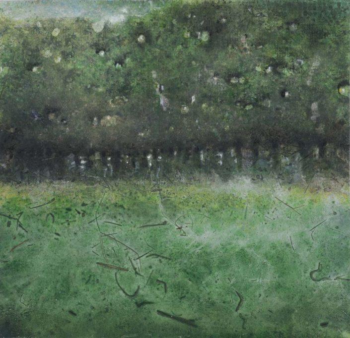 Souvenir le soir au Montet - 41 x 42 cm - 2016 - Acrylique sur bois